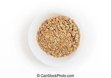 Bowl of granola, on white background.