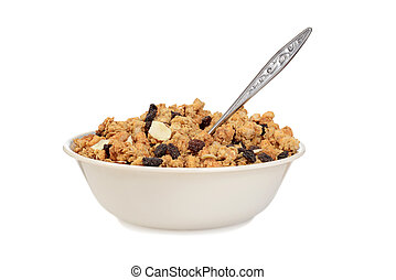 bowl of granola raisin almond cereal with a spoon