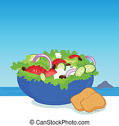 Bowl of Greek salad and slice of bread. Vector illustration...