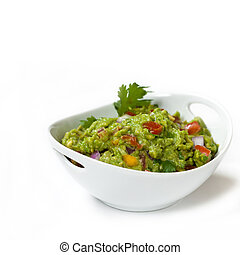Guacamole - Bowl of Guacamole dip isolated on white...
