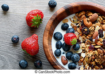 Bowl of healthy breakfast: granola with yogurt and fresh berries