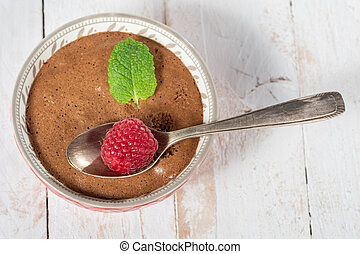 bowl of homemade chocolate mousse