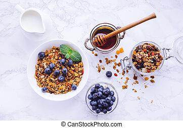 Bowl of homemade granola with yogurt