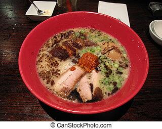 Ramen - Bowl of Hot Ramen Noodle Soup with Pork