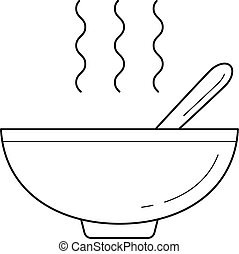 Bowl of hot soup vector line icon.