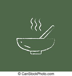 Bowl of hot soup with spoon icon drawn in chalk.