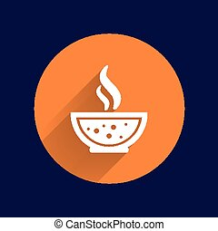 Bowl of Hot Soup with spoon Line Art. Icon isolated