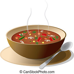 Bowl of hot vegetable soup on plate, with spoon, isolated on...