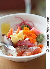 Bowl of Japanese mix sashimi don on rice