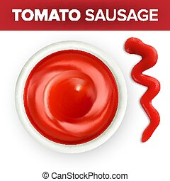 Bowl Of Ketchup Or Tomato Sauce With Splash Vector