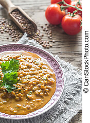 Bowl of lentil curry: top view