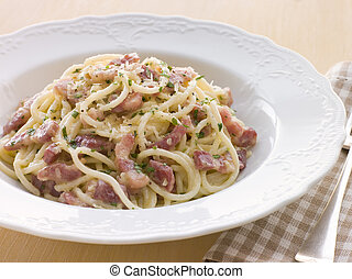 Bowl of Linguini Carbonara