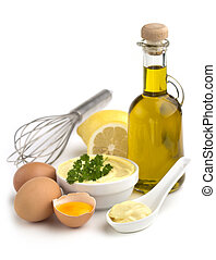 mayonnaise - bowl of mayonnaise and ingredients on white...