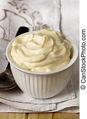 Bowl of Mayonnaise - Small bowl of whole-egg mayonnaise, ...