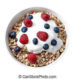 bowl of muesli and yogurt with fresh berries