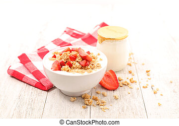 bowl of muesli ,strawberry and yogurt