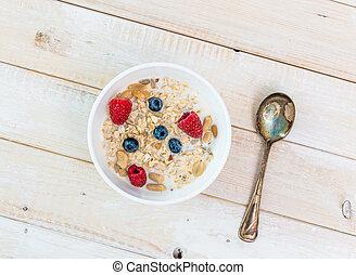 bowl of muesli with berries