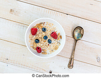 bowl of muesli with berries