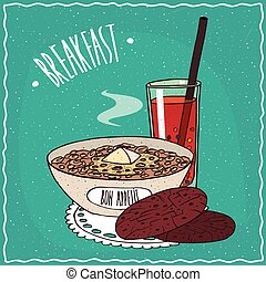 Bowl of muesli with oatmeal cookies and juice - Bowl of...
