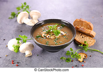 bowl of mushroom soup and bread