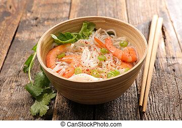 bowl of noodle soup with shrimp