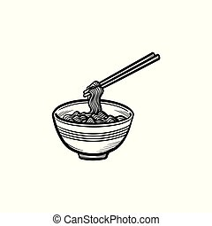 Bowl of noodles hand drawn sketch icon.