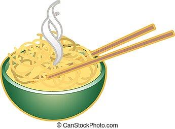 bowl of noodles - A hot bowl of oriental noodles with chop...