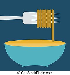 Bowl of noodles with fork