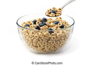 Bowl of oat cereal with blueberry a