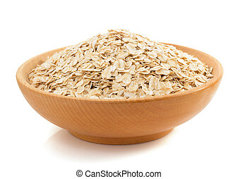 bowl of oat flake on white - bowl of oat flake isolated on...