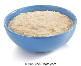 bowl of oatmeal on white