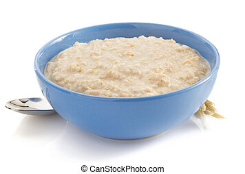 bowl of oatmeal on white - bowl of oatmeal isolated on white...