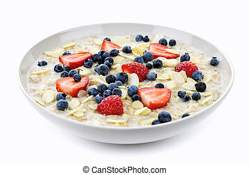Bowl of oatmeal with berries - Bowl of hot oatmeal breakfast...