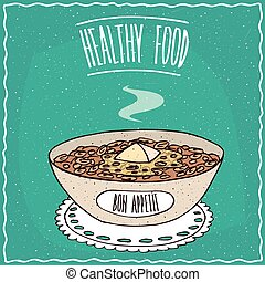 Bowl of oatmeal with butter, similar to muesli or granola,...