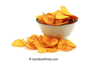 bowl of paprika chips - bowl of paprika chips on a white...