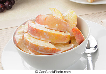 Bowl of peaches and cream