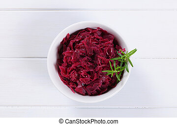 pickled red cabbage - bowl of pickled red cabbage on white ...