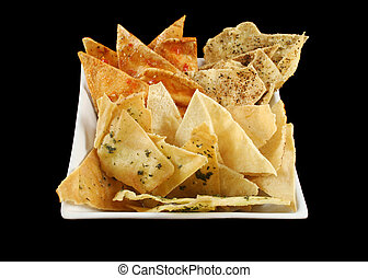 Bowl Of Pita Crisps - Bowl of assorted baked pita crisps...