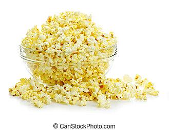 Bowl of popcorn - Bowl of fresh popped popcorn isolated on ...