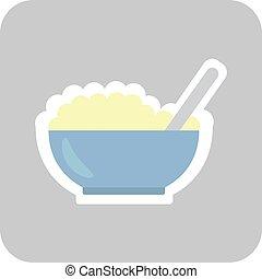 Bowl of porridge isolated on background. Vector
