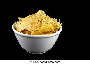 Bowl of Potato Chips on a Black Background