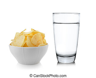 Bowl of potato chips on white background
