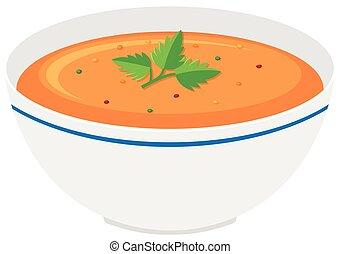 Bowl of pumpkin soup illustration
