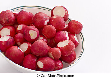 Bowl Of Radish - Cut radishes in a white bowl