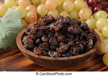 A snack bowl of raisins with grapes in the background