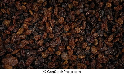 Bowl Of Raisins Overhead Shot - Bowl of raisins turning...