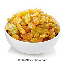 Bowl of raisins - Bowl of yellow raisins isolated on white...