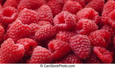 Bowl Of Raspberries Rotating Closeup