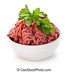 Bowl of raw ground meat - Close up on isolated bowl of lean ...