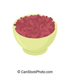 Bowl of red bean cereal isolated. Healthy food for breakfast. Vector illustration